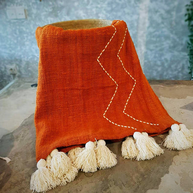 Orange Raw Cotton Throw With Zigzag Stitch Pattern - Canggu & Co