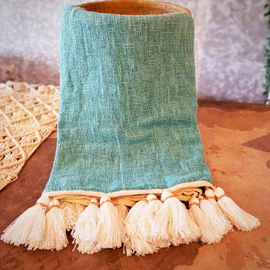 Baby Blue Raw Cotton Throw With Beaded Tassels - Canggu & Co