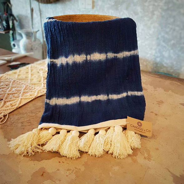 Navy & White Tie Dye Raw Cotton Throw With Tassels
