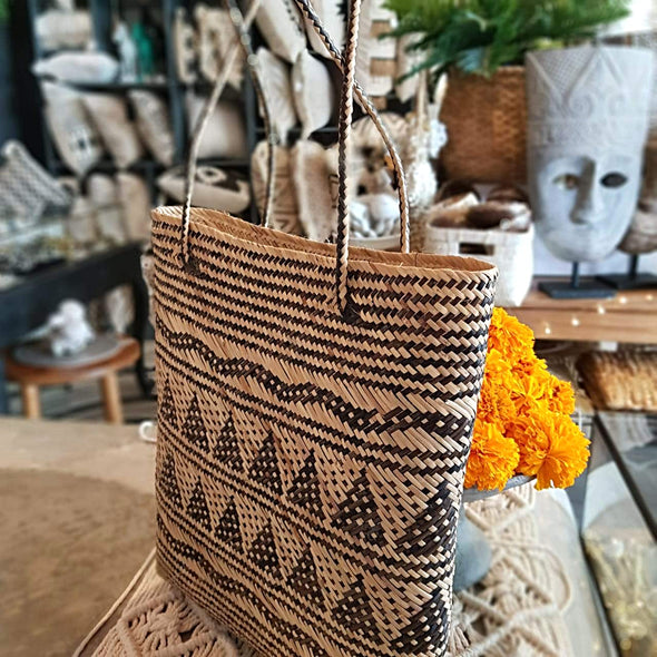 Natural Woven Bamboo Square Bag With Ethnic Motif - Canggu & Co