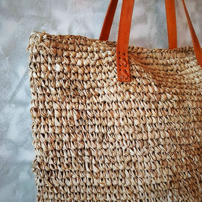 Natural Woven Straw Grass Rectangular Bag With Leather Strap