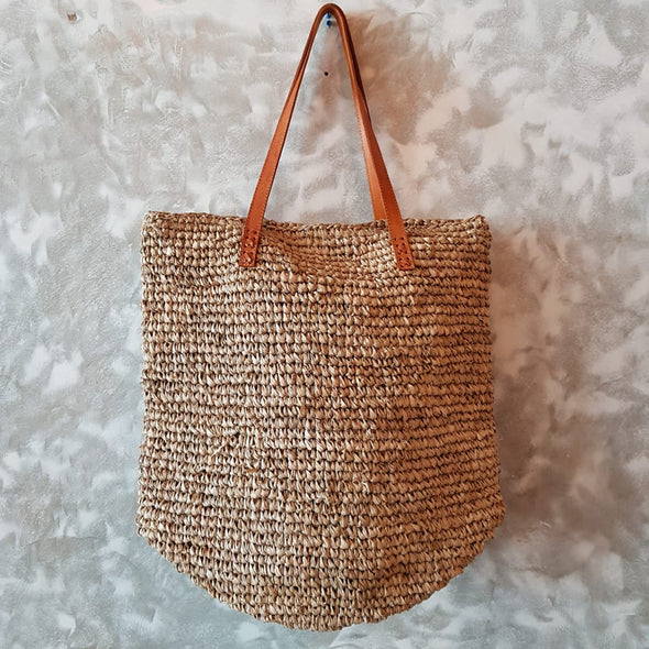 Natural Woven Straw Grass Rectangular Bag With Leather Strap - Canggu & Co