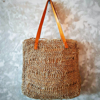 Natural Woven Straw Grass Square Bag With Leather Strap