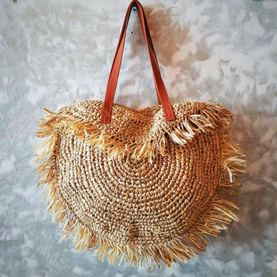 Natural Woven Straw Grass Half Round Bag with Leather Strap