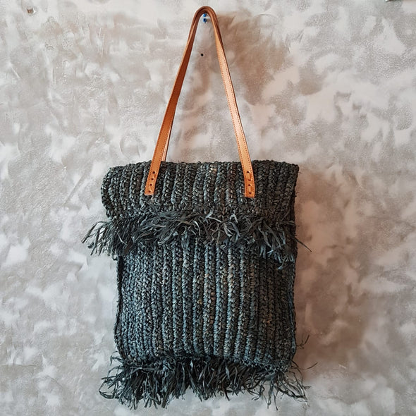 Woven Straw Grass Bag With Double Fringe In Black Or Natural Colors - Canggu & Co