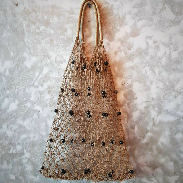 Natural Woven String Shoulder Bag With Black Beads - Canggu & Co