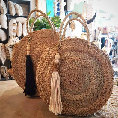 Natural Woven Straw Grass Round Bag - Canggu & Co