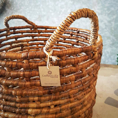 Natural Woven Banana Leaf Basket - Canggu & Co