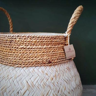 Black Or White Washed Bamboo And Banana Leaf Basket