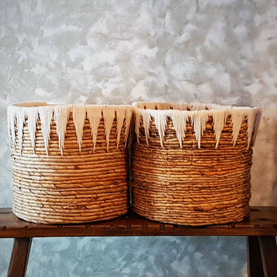 Banana Leaf Basket With Natural Thread Pattern - Canggu & Co