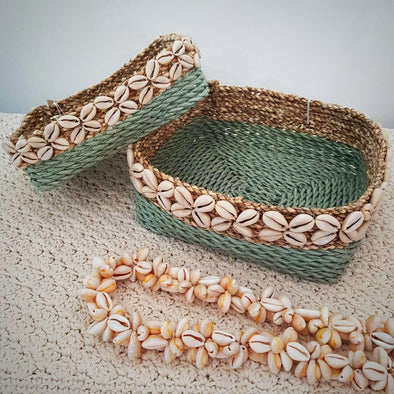 Square Raffia Basket Sets With Cowrie Shells - Canggu & Co