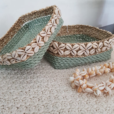 Square Raffia Basket Sets With Cowrie Shells