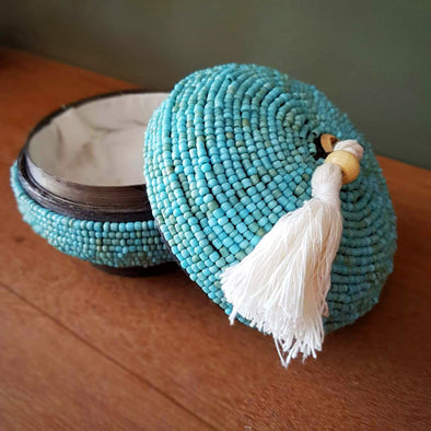 Mini Round Bead & Bamboo Boxes With Tassel