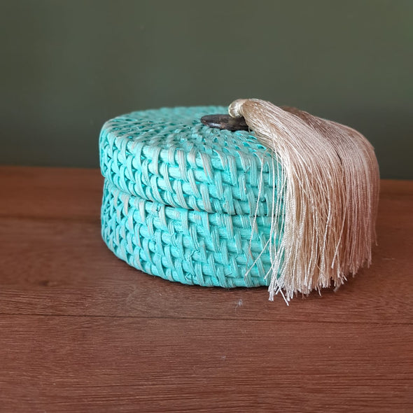 Small Size Rattan Boxes With Twin Tassels