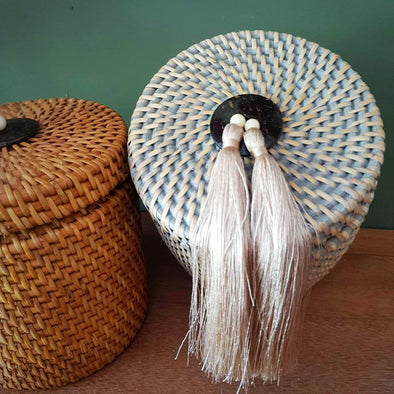 Medium Size Rattan Boxes With Tassels