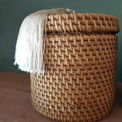 Medium Size Rattan Boxes With Tassels - Canggu & Co
