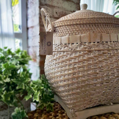 Large White Washed Bamboo Basket With Lid