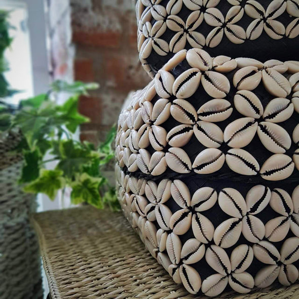 Cowrie Shell Pattern Black Bamboo Box Set - Canggu & Co