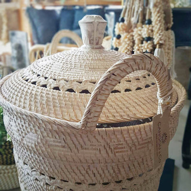 Large Whitewashed Rattan Basket With Lid