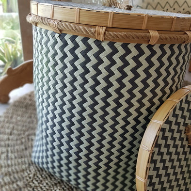 Black & White Zig Zag Pattern Synthetic Rattan Baskets