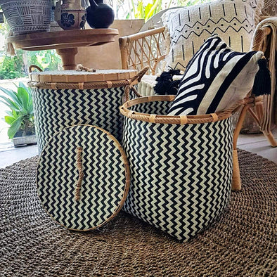 Black & White Zig Zag Pattern Synthetic Rattan Baskets - Canggu & Co