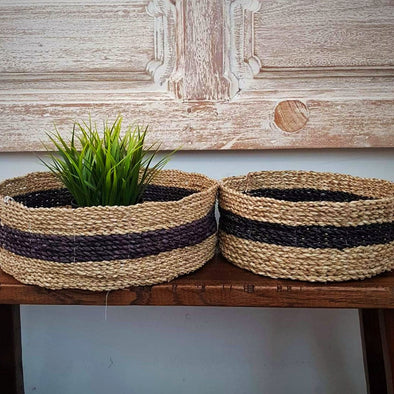 Two Tone Straw Grass Round Basket Set - Canggu & Co