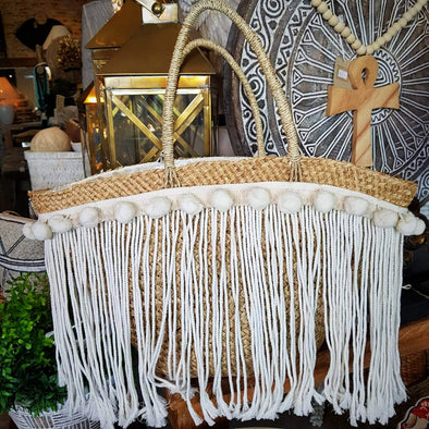 Large Natural Straw Grass Tote Bags With Pompoms & Long Fringe - Canggu & Co