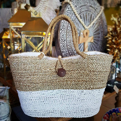 Large Two Tone Raffia Beach & Outdoor Tote Bag - Canggu & Co