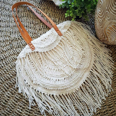 Natural Woven Cotton Macrame Hand Bag With Leather Straps