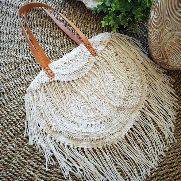 Natural Woven Cotton Macrame Hand Bag With Leather Straps - Canggu & Co
