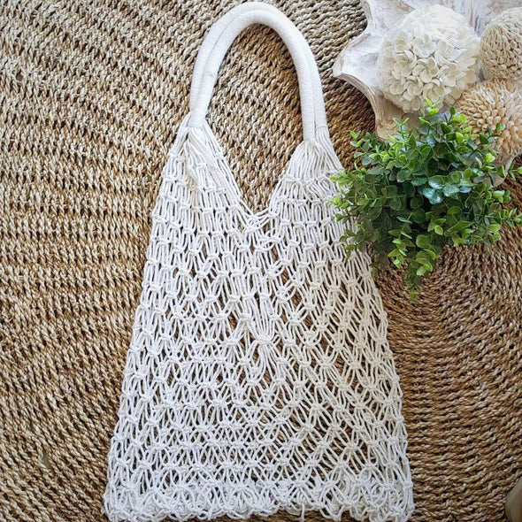 White Woven Cotton Oval Shaped Macrame Bag