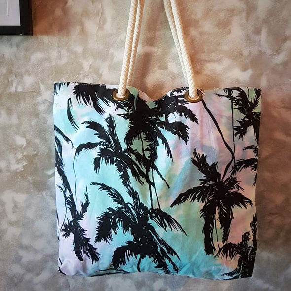 Tropical Palm Tree Print Cotton Canvas Tote & Beach Bag - Canggu & Co