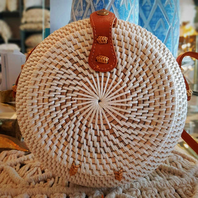Woven Rattan Globe Shaped Bag With Leather Strap - Canggu & Co