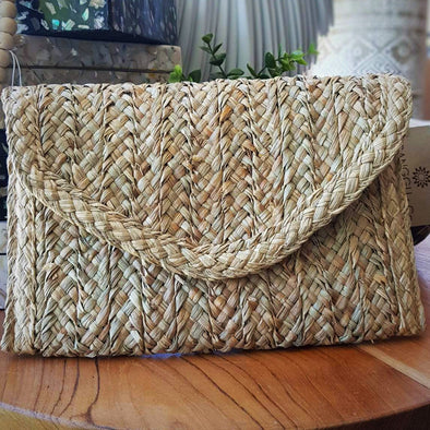 Natural Woven Straw Grass Fold Clutch - Canggu & Co