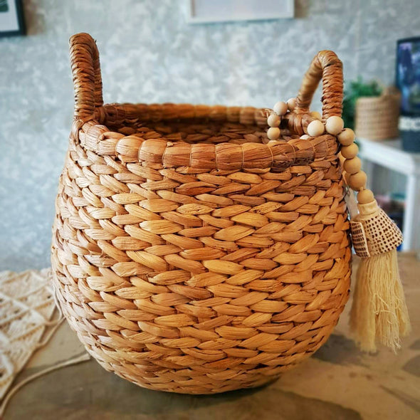 Natural Woven Banana Leaf Round Basket With Handles - Canggu & Co