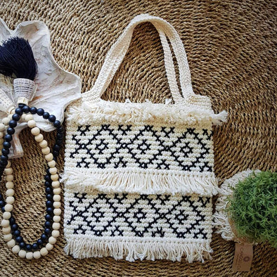 Natural Woven Black & White Square Shaped Macrame Bag With Fringe