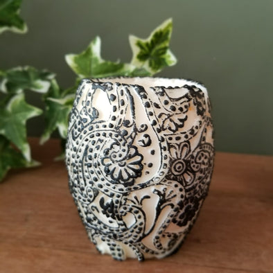 Paisley Embossed Cylinder Shaped Natural Beeswax Candle - Canggu & Co