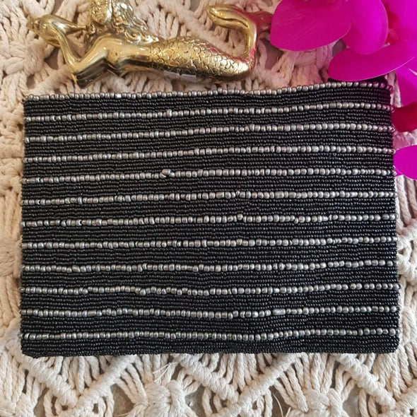 Extra Large Black & Silver Beaded Clutch With Strap