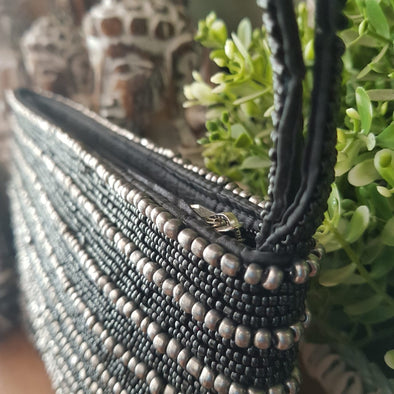 Black & Silver Woven Beaded Clutch With Strap