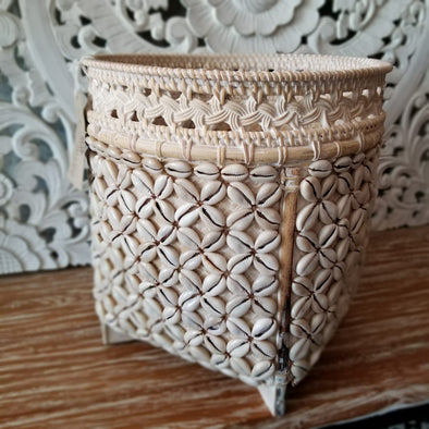 Rattan, Bamboo & Shell Round Baskets - Canggu & Co