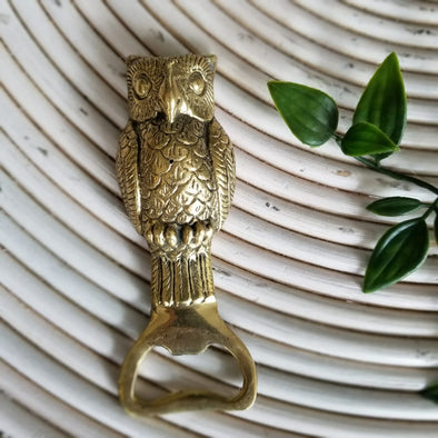 Gold Brass Owl Figure Bottle Opener - Canggu & Co