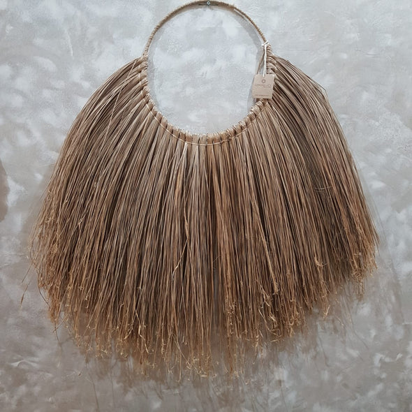 Natural Half Round Grass Straw Wall Decor - Canggu & Co