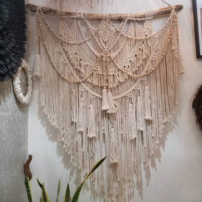 Large Woven Triangular Macrame Wall Hanging - Canggu & Co