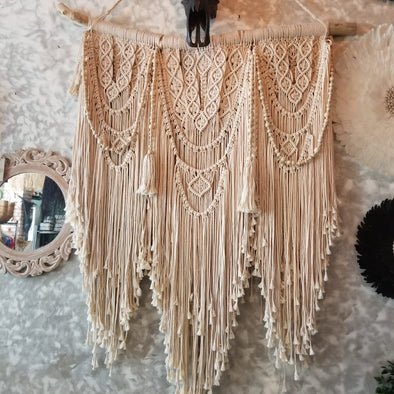 Large Woven Macrame Wall Hanging With Beads