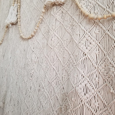 Large Square Woven Macrame Wall Tapestry Decor