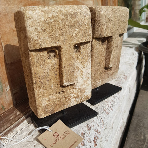 Square Stone Mask Figure Decor - Canggu & Co