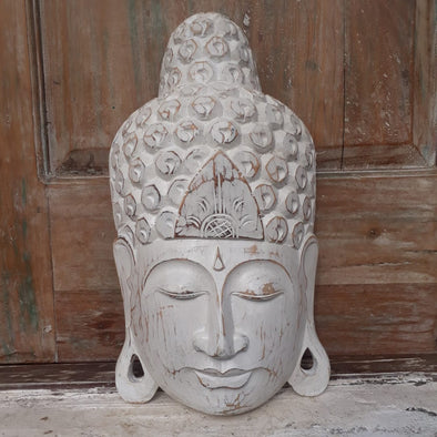 Whitewash Wooden Buddha Head