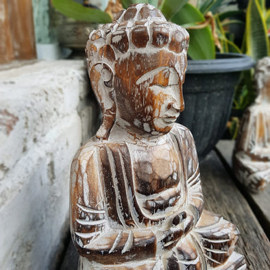 Antique Wooden Sitting Buddha - Canggu & Co