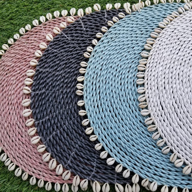 Large Size Multi-Colored Raffia Placemats With Cowrie Shells - Canggu & Co