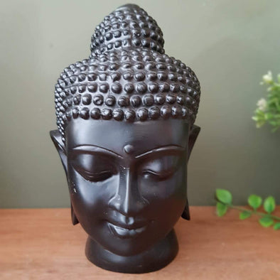 Antique & Plain Buddha Head Resin Statue Decor Medium / Black Sculpture